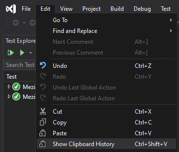 Visual Studio clipboard history menu item