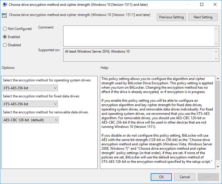 Enable BitLocker AES-XTX 256 encryption algorithm