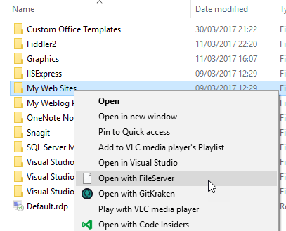 Starting a http file server from the file explorer using