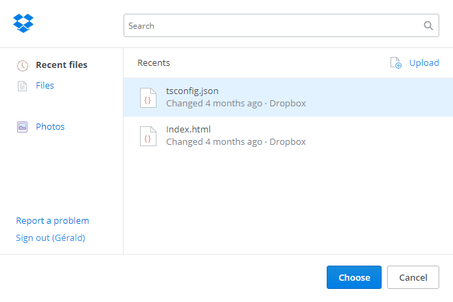 Dropbox File Picker