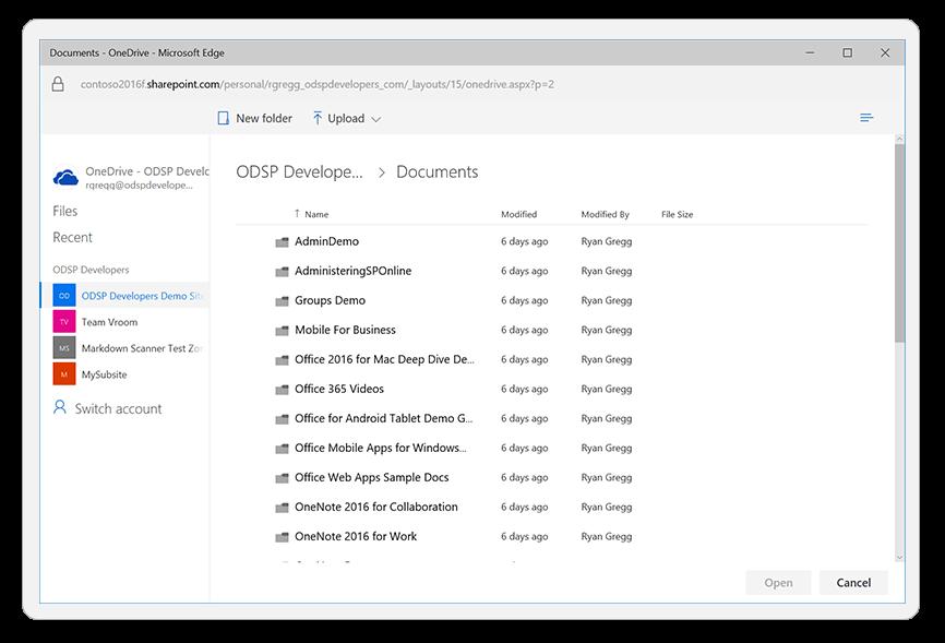 Using OneDrive File Picker in a website - Meziantou's blog