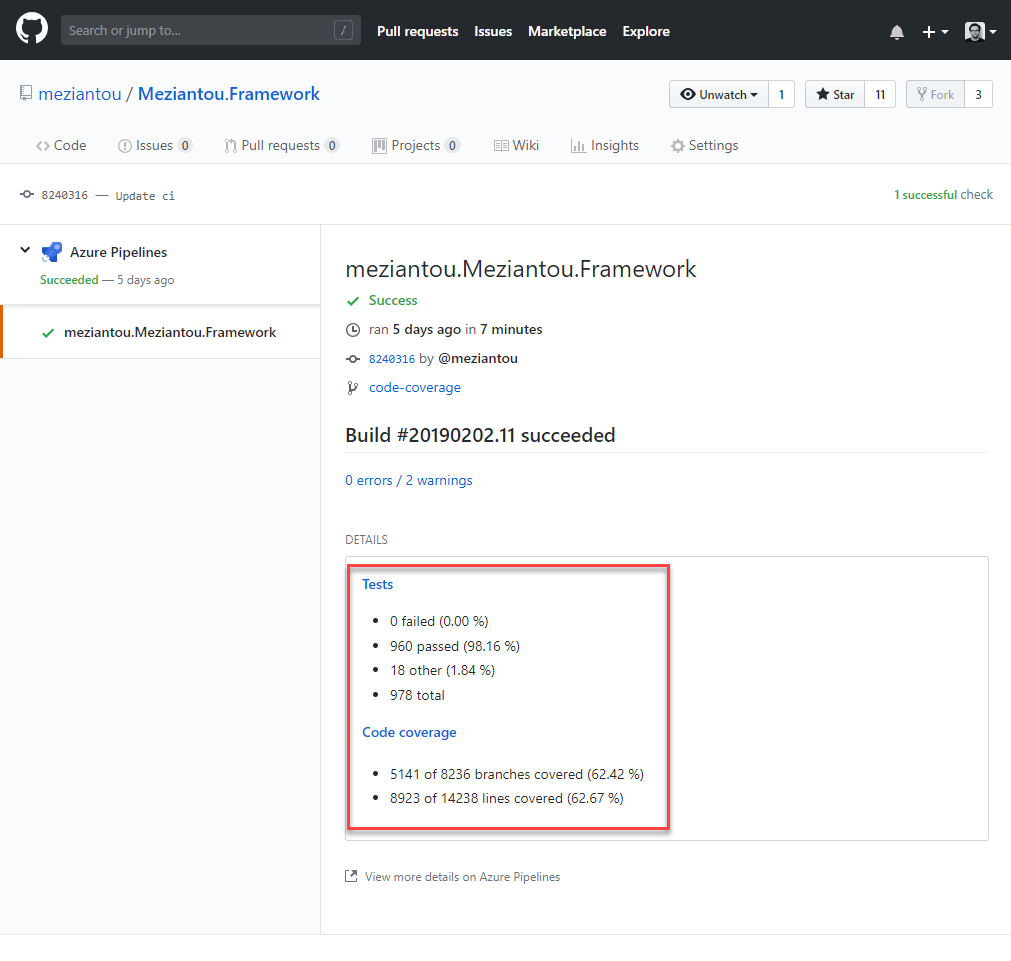 Computing code coverage for a  NET Core project with Azure