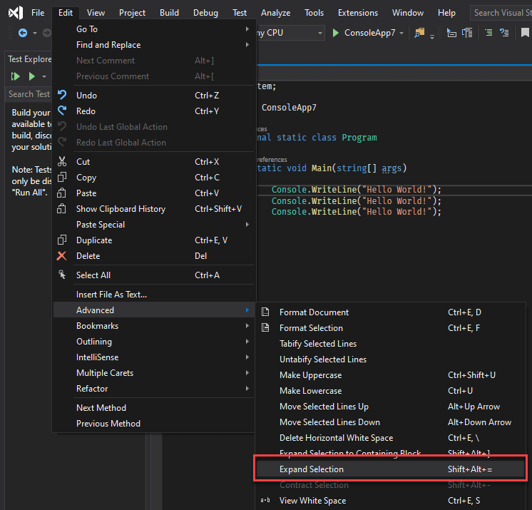 Visual Studio Tips and tricks: Extend/Reduce selection