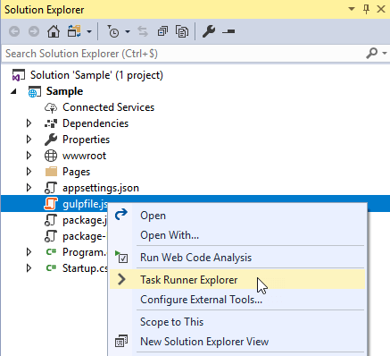 Compiling TypeScript using Gulp in Visual Studio