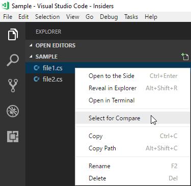 Comparing files using Visual Studio Code - Meziantou's blog