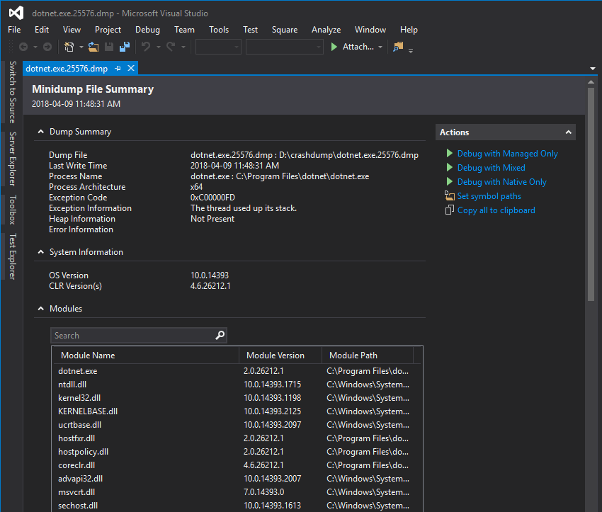 Debug crash dump in Visual Studio