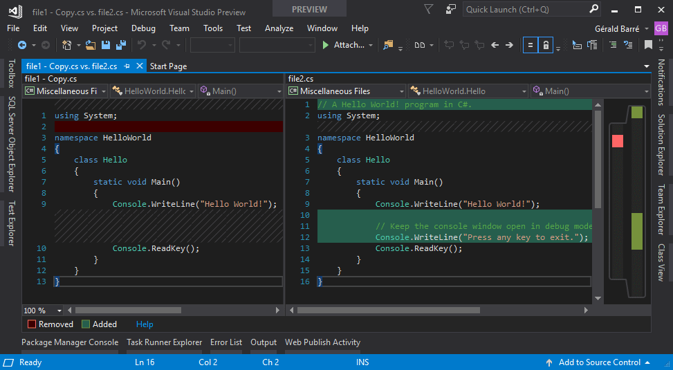 Comparing files using Visual Studio - Meziantou's blog