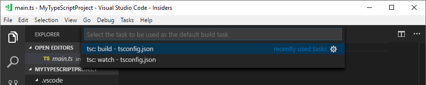 Starting a TypeScript project with Visual Studio Code